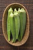 Several okra pods in basket