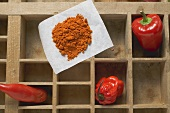Pepper, chillies and chilli powder in type case