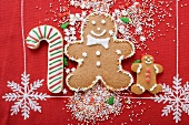 Gingerbread men, candy cane biscuit and sprinkles