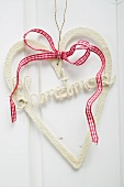 Christmas decoration: heart with checked bow