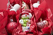 Various Christmas decorations in red paper