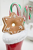 Gingerbread star and candy canes in red rubber boot