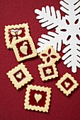 Several square jam biscuits for Christmas