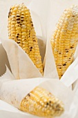 Grilled corn on the cob in greaseproof paper