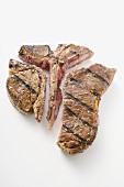Grilled T-bone steak, cut into pieces