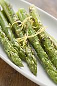Roasted green asparagus with lemon zest