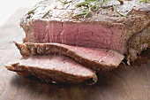 Sirloin steak, partly sliced