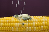 Sprinkling salt on corn on the cob with herb butter