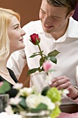 Man giving woman a red rose