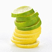 Slices of lime and lemon, stacked