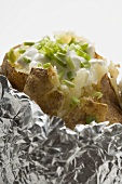 Baked potato with quark and chives (detail)