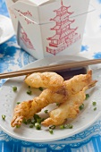 Deep-fried prawns in batter with soy sauce to take away (Asia)