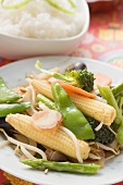 Stir-fried vegetables with rice (Asia)