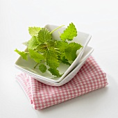 Lemon balm in a small dish on a checked cloth