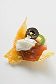 Nacho with cheese, olive, chilli ring, ketchup & sour cream