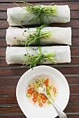 Three rice paper rolls with chilli sauce from above (Asia)