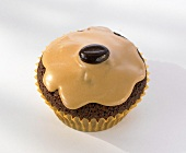 Iced mocha muffin with coffee bean