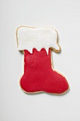 Christmas biscuit (boot with red and white icing)
