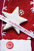 Cinnamon star and Christmas ribbon on woollen mitten