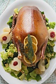 Roast duck with savoy cabbage & cranberry pears (Christmas)