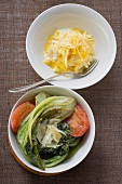 Yellow carrots with yoghurt, braised romaine lettuce with tomatoes