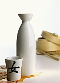 Japanese sake flask with sake cup