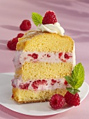 A piece of raspberry ring cake