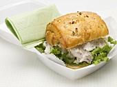 Chicken salad sandwich in polystyrene container