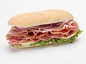 Ham, salami and cheese sub sandwich