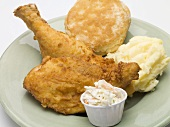 Fried chicken with mashed potato, coleslaw and scone