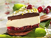 Piece of Black Forest gateau with chopped pistachios