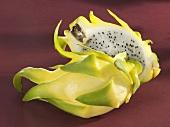 Yellow pitahaya, halved