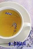 Lavender tea with lavender flowers