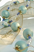 Christmas tree ornament: string of turquoise beads