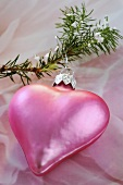 Pink heart on fir sprig