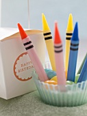 Crayon candles and birthday gift