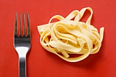Ribbon pasta and fork on red background
