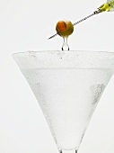 Martini with olive on cocktail stick