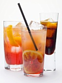 Campari Soda, Campari Orange, bitter schnapps with ice cubes