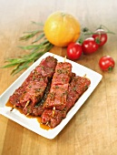 Marinated raw meat skewers