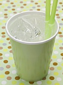 Mineral water with ice cubes in green paper cup