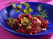 Beetroot and apple salad with walnuts