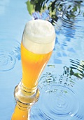 Glass of wheat beer on water