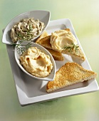Anchovy butter and salmon caviar butter with toast