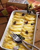 Sformato di polenta e fontina (polenta and cheese bake, Italy)