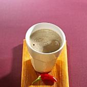 A beaker of chilli chocolate
