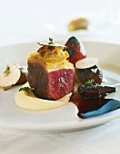 Beef fillet with shallots in port wine and celery cream