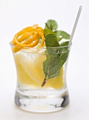 Vodka with lemon, mint and orange zest