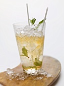 Mojito with mint, crushed ice and straws