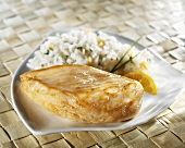 Chicken Breast with Rice on White Dish
